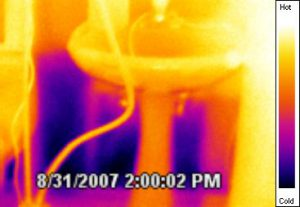 IR of Basement Flood Bathroom wall wet to top of sink seen with IR.
