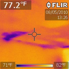 IR of Ceiling Bedroom ceiling wet drywall from roof leak.
